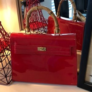 Charles Hubert vintage purse Red Patten leather